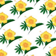 hibiscus flower leaves decoration seamless pattern vector illustration