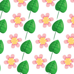 flower leaves ornament natural seamless pattern vector illustration