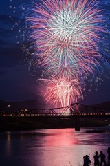 Firework Display By Bridge Over River Against Sky At Night