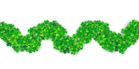 Patricks Day seamless zigzag wave border background with four green clover heap