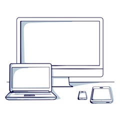 Set of different computer and mobile device: desktop, tablet, laptop, mobile phone.