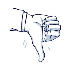 A man's hand shows a thumbs down. Failure, do not like. Hand drawn doodle cartoon vector illustration..