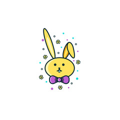 Cute bunny, rabbit or hare face - flat color line icon on isolated background. Easter animal symbol, sign, emoji, emoticon, character design.