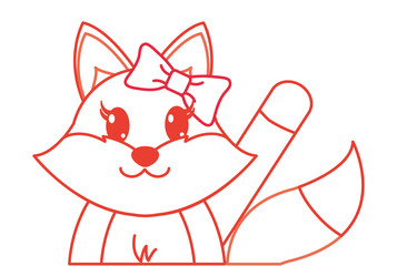 color line adorable female fox animal with hand up