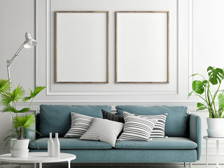 Mock up posters, pastel comfortable sofa, Living room style, 3d render, 3d illustration