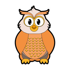 full color owl cute wild animal character