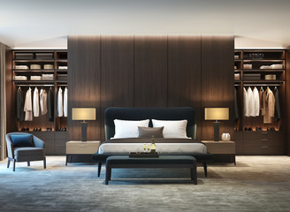 Modern luxury bedroom with dark wood walk in closet front