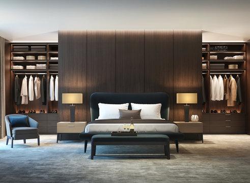 Modern luxury bedroom with dark wood walk in closet front