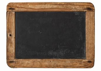 Vintage chalkboard wooden frame white background