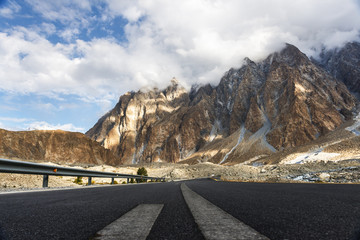View around Passu village, Pakistan. Passu is a small village on the Karakoram Highway, beside the Hunza River of Pakistan.