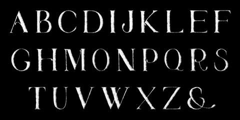 Grunge full alphabet. Hand draw. Vector letters.