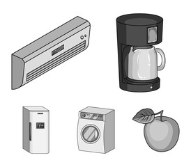 Home appliances and equipment monochrome icons in set collection for design.Modern household appliances vector symbol stock web illustration.