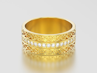 3D illustration yellow gold decorative wedding bands carved out ring with ornament and diamonds