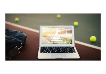 Laptop Mockup with Tennis Balls
