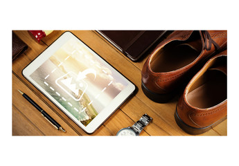 Tablet  Mockup with Men's Accessories