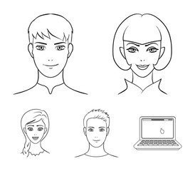 Different looks of young people.Avatar and face set collection icons in outline style vector symbol stock illustration web.