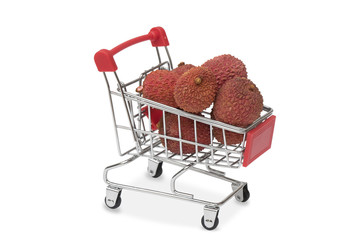 lychees in shopping cart