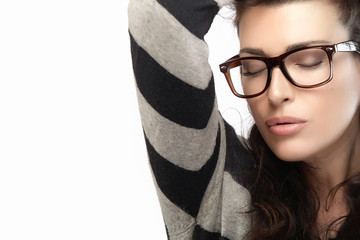Woman in Striped Jersey Holding her Hair. Cool Trendy Eyewear