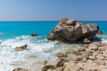 Amazing landscape of blue waters of Megali Petra Beach, Lefkada, Ionian Islands, Greece