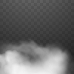 Fog or smoke isolated on transparent background. White cloud. Vector illustration