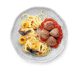 Delicious pasta with meat balls and tomato sauce on white background