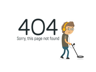Funny design 404 page not found vector illustration. Geek with metal detector searching the big data