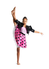 Image of flexible little girl doing vertical split Beautiful little girl dancing