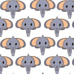 elephant head cute animal character background