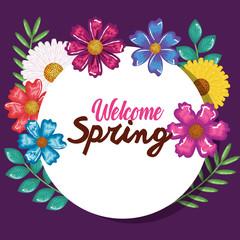 welcome spring decorative art vector illustration design
