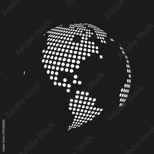White dotted 3d earth world map globe in black background vector white dotted 3d earth world map globe in black background vector illustration gumiabroncs Images