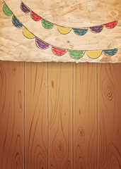 Drawing bunting flags on old paper and wooden background