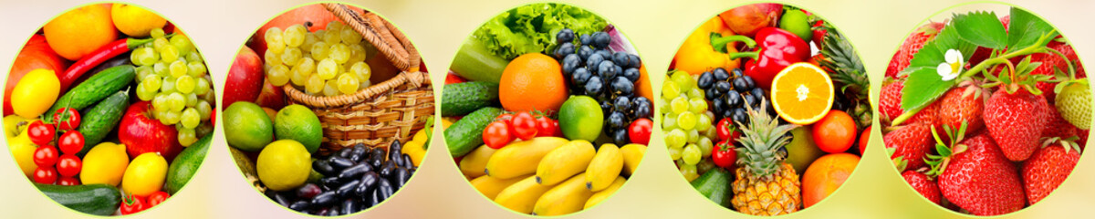 Panorama fresh fruits and vegetables in round frame on blurred background.