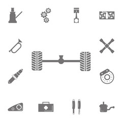 Axle and wheel car icon. Set of car repair icons. Signs of collection, simple icons for websites, web design, mobile app, info graphics