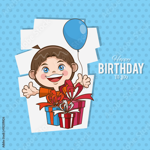 Kid Happy Birthday Card Cartoon Icon Vector Illustration Graphic