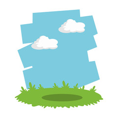 Grass and sky landscape cartoon icon vector illustration graphic design