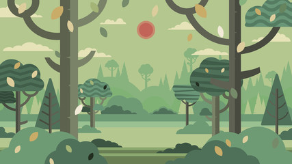Green forest silhouette and mountains landscape abstract background.Nature and environment conservation concept flat design.Vector illustration.