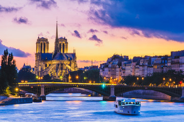 Notre Dame de Paris Cathedral and Seine River