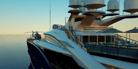 Extremely detailed and realistic high resolution 3D illustration of a luxury super yacht with a helicopter, a swimming pool and a jacuzzi Wall mural