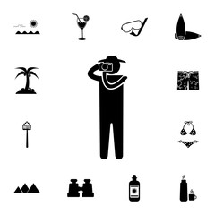 person photographer or tourist icon. Set of tourism icons. Signs of collection, simple icons for websites, web design, mobile app, info graphics