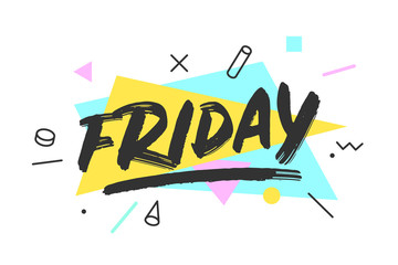 Friday. Banner, speech bubble, poster and sticker concept, memphis geometric style with text Friday. Icon message friday cloud talk for banner, poster, web. White background. Vector Illustration