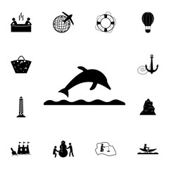 dolphin jumping on the wave icon. Set of tourism icons. Signs of collection, simple icons for websites, web design, mobile app, info graphics