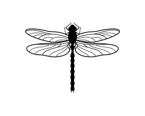 Black Insect Dragonfly Symbol Logo Animal Vector