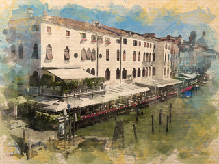 Watercolor pattern of Venice Italy colorful illustration card