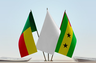 Flags of Benin and Sao Tome and Principe with a white flag in the middle