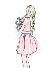Young girl with long hair in a beautiful short dress. A bouquet of tulips. Vector illustration. Clothing, accessories, fashion and style. She's a slender woman.