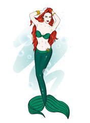 A beautiful mermaid with long hair. Fashion & Style. Vector illustration. Fairy-tale fashion girl.