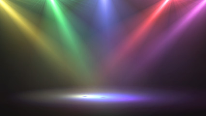 abstract of empty stage with colorful spotlights or Several bright projectors for scene lighting effects . can be used for display or montage your products