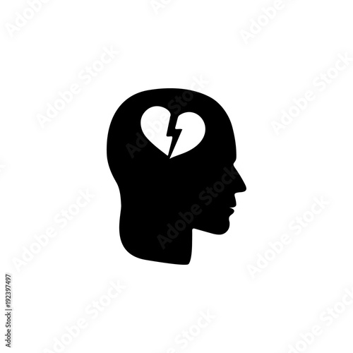 A Broken Heart In The Head Icon Illustration Of Psychological