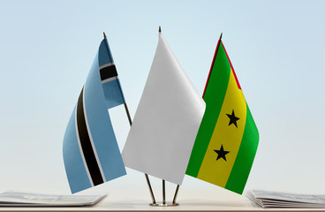 Flags of Botswana and Sao Tome and Principe with a white flag in the middle