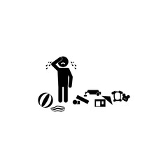 crying baby icon. Illustration of psychological disorder of people icon. Premium quality graphic design. Signs and symbols icon for websites, web design, mobile app